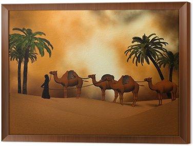 Obraz w Ramie Camel karawana na pustyni