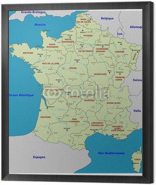 Obraz w Ramie Carte de France - Regiony