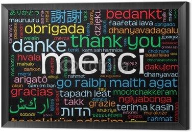 """Obraz w Ramie Carte """"MERCI"""" (komunikat mots amour oui dziękuję danke gracias)"""