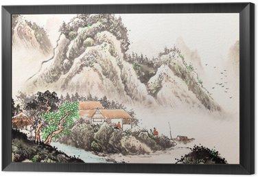 Obraz w Ramie Chiński krajobraz akwarela painting__