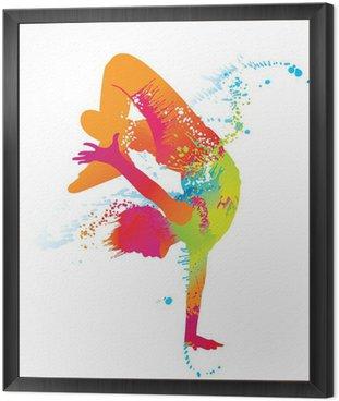 Obraz w Ramie Chłopiec taniec z kolorowe plamy i odpryskami. wektor