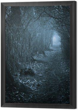 Obraz w Ramie Ciemno upiorny przejście przez las