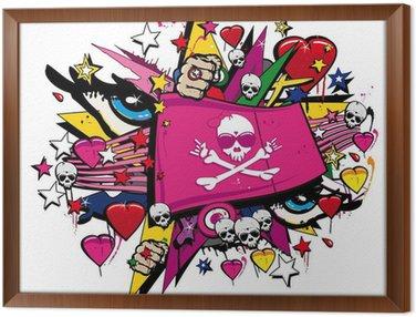 Obraz w Ramie Crossbones czaszka flaga różowy graffiti, street art walentynkowy flag
