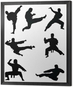 Obraz w Ramie Czarne sylwetki karate, wektor