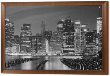 Obraz w Ramie Czarno-białe zdjęcie Manhattan nabrzeża, NYC, USA.