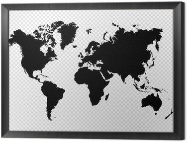 Obraz w Ramie Czarny samodzielnie mapa świata plików wektorowych eps10.