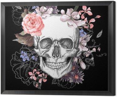 Obraz w Ramie Czaszki i kwiaty dzień żyje