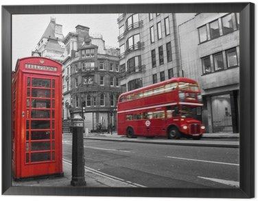 Obraz w Ramie Czerwona budka telefoniczna i autobusów w Londynie (Wielka Brytania)
