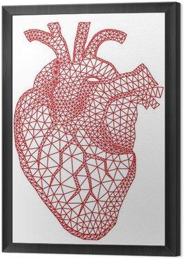 Obraz w Ramie Czerwone serce człowieka z geometryczny wzór siatki, wektor