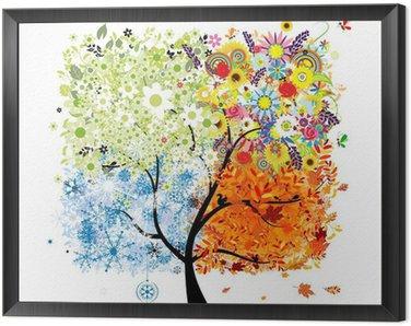 Obraz w Ramie Cztery pory roku - wiosna, lato, jesień, zima. Drzewo sztuki