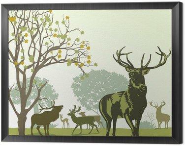 Obraz w Ramie Deer i gra w jesieni