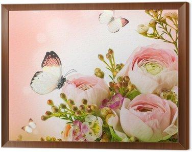 Obraz w Ramie Delikatny bukiet z różowych róż i motyli