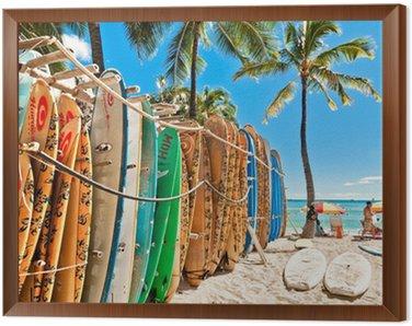 Obraz w Ramie Deski surfingowe w stojaku na Waikiki Beach - Honolulu