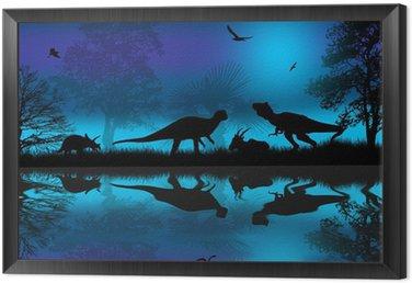 Obraz w Ramie Dinozaury sylwetki na niebieskim nocy