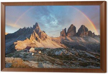 Obraz w Ramie Dolomity górskich we Włoszech na zachód słońca - Tre Cime di Lavaredo