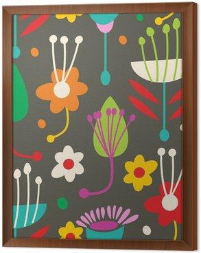 Obraz w Ramie Doodle bez szwu kwiatowy wzór
