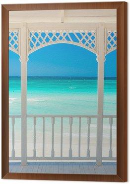 Obraz w Ramie Drewniany taras z widokiem tropikalnej plaży na Kubie