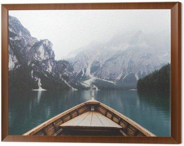 Obraz w Ramie Drewno w łodzi jeziora Braies