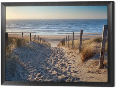 Obraz w Ramie Droga do północnej plaży morskiej w złoto słońca