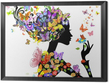 Obraz w Ramie Dziewczyna mody kwiaty z motyli