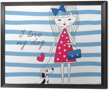Dziewczyna z ilustracji wektorowych psa