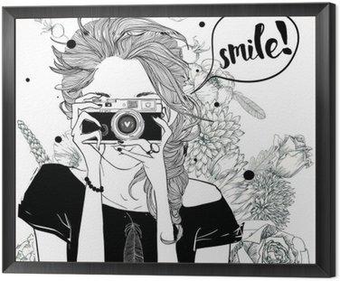 Obraz w Ramie Dziewczynka Cute cartoon
