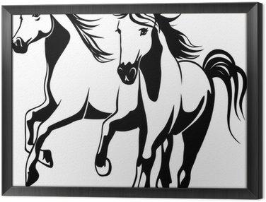 Obraz w Ramie Dzikie konie - czarno-białych ilustracji wektorowych