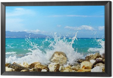 Obraz w Ramie Fale morza. mirabellno zatoka, kreta