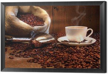 Obraz w Ramie Filiżanka kawy z konopie worek z palonych ziaren