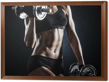 Obraz w Ramie Fitness z hantlami