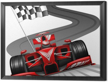 Obraz w Ramie Formuła 1 czerwony samochód na tor wyścigowy