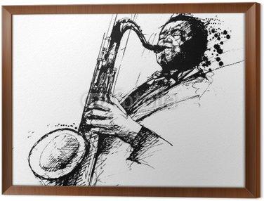 Freehanding rysunek saksofonista jazzowy