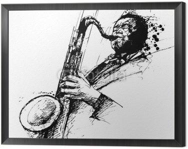 Obraz w Ramie Freehanding rysunek saksofonista jazzowy
