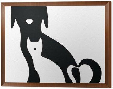 Obraz w Ramie Funny pies i kot sylwetki skład