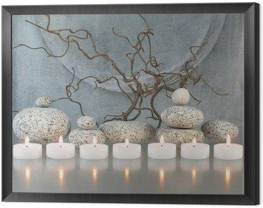 Obraz w Ramie Gałązki, kamienie, świece