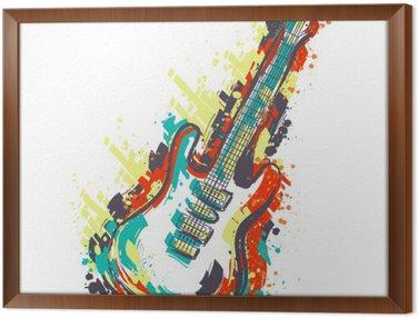 Obraz w Ramie Gitara elektryczna. Ręcznie rysowane stylu grunge sztuki. Retro transparent, kartka, koszulka, torba, druk, poster.Vintage kolorowe ręcznie rysowane ilustracji wektorowych