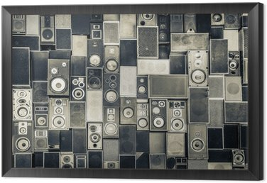 Obraz w Ramie Głośniki Muzyka na ścianie w monochromatycznym stylu vintage