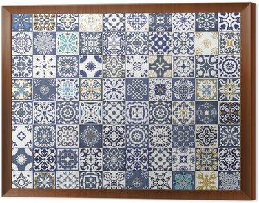 Obraz w Ramie Gorgeous kwiatowy wzór patchwork. Kolorowe marokańskie lub śródziemnomorskie kwadratowych płytek, plemienne ozdoby. Do druku tapety, wzór wypełnienia tła strony internetowej, tekstur powierzchniowych. Indigo niebieski biały turkusowy