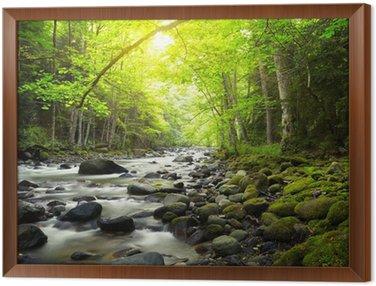 Obraz w Ramie Górskiej rzeki w lesie