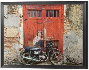 """Obraz w Ramie Graffiti """"Chłopiec na rowerze""""."""