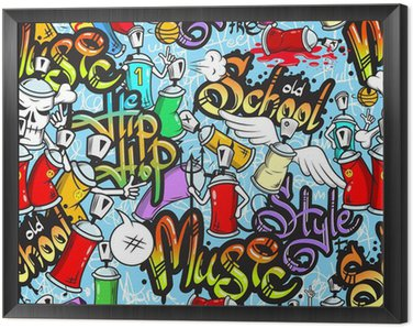 Obraz w Ramie Graffiti znaków powtarzalne