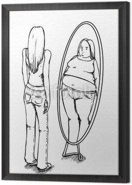 Obraz w Ramie Grube, cienkie, anoreksja, lustro, anoreksja
