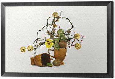 Obraz w Ramie Ikebana i jagody kivi