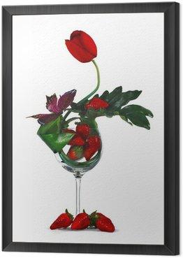 Obraz w Ramie Ikebana i truskawki w szklance