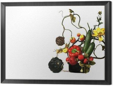 Obraz w Ramie Ikebana z kolorów i dynie