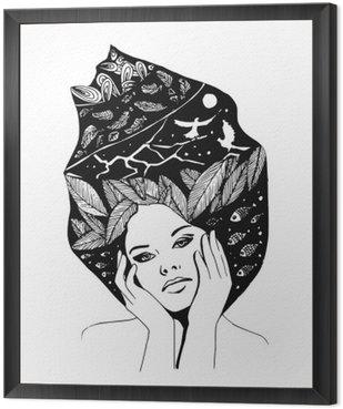 Obraz w Ramie __illustration, graficzny portret czarno-białe kobiety