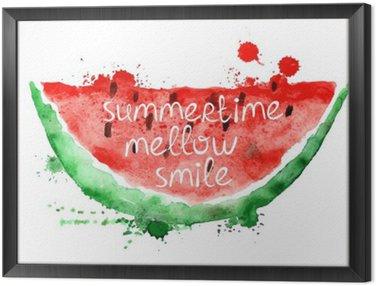 Obraz w Ramie Ilustracja akwarela z plasterka arbuza.