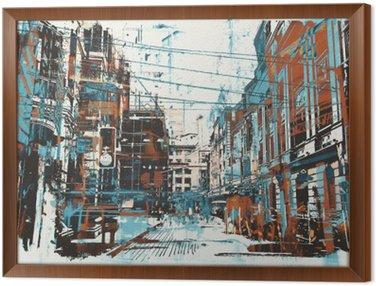 Obraz w Ramie Ilustracja malowanie ulicy miejskiego z grunge tekstury