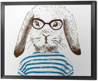 Obraz w Ramie Ilustracja przebrany królika