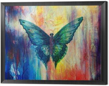 Obraz w Ramie Ilustracja z motyla, zmieszane z medium, streszczenie kolor tła.